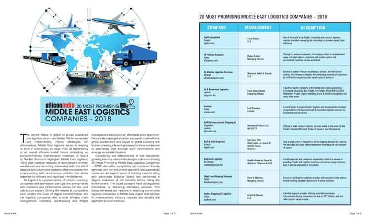 FLS Rated Among 20 Most Promising ME Logistics Companies and 4th In UAE By Silicon India Magazine
