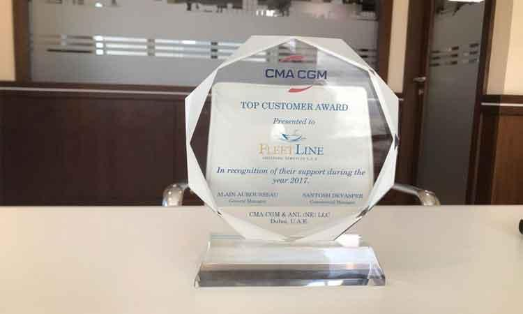 Fleet Line Shipping (FLS) gets CMA- CGM's Top Customer Award